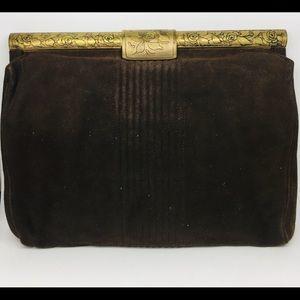 1920s Art Deco Vintage Clutch Purse Suede Snaplock